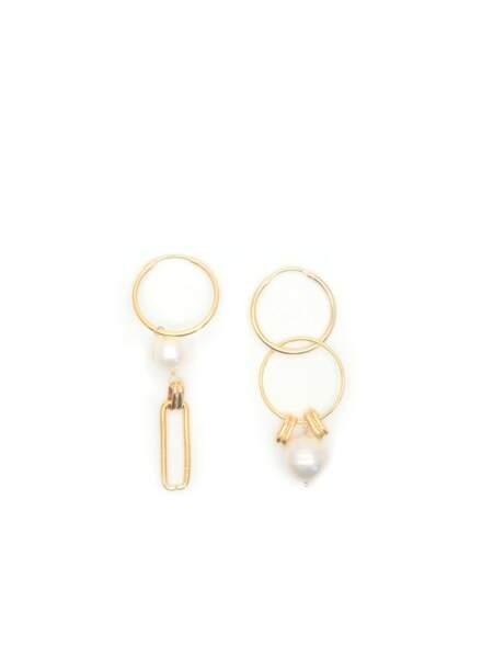 Boucles d'oreilles pendantes façon créoles Kobé / Kobé Hoops, Gisel B, 64€