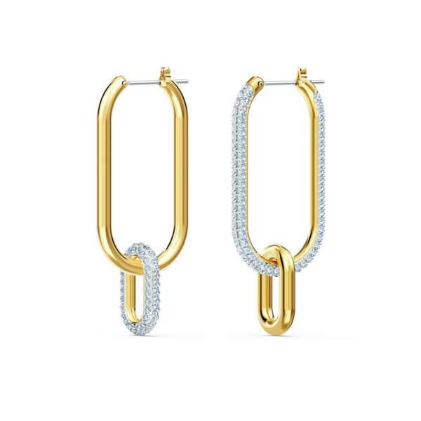 Boucles d'oreilles pendantes façon créoles mix de métal, Swarovski, actuellement à 94,95€sur Brandfield