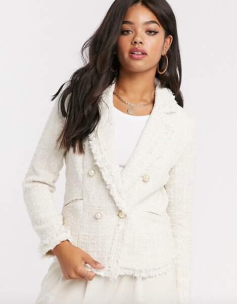 Veste croisée en tweed à carreaux, Girl in mind sur ASOS, 69,99€