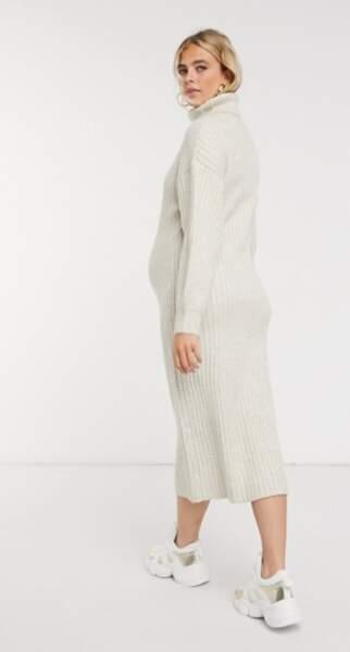 Robe côtelée mi-longue avec col bénitier, ASOS Design Maternity, 43,99€