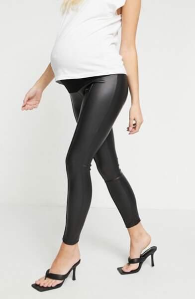 Legging à nervures effet cuir, ASOS Design Maternity, 27,99€