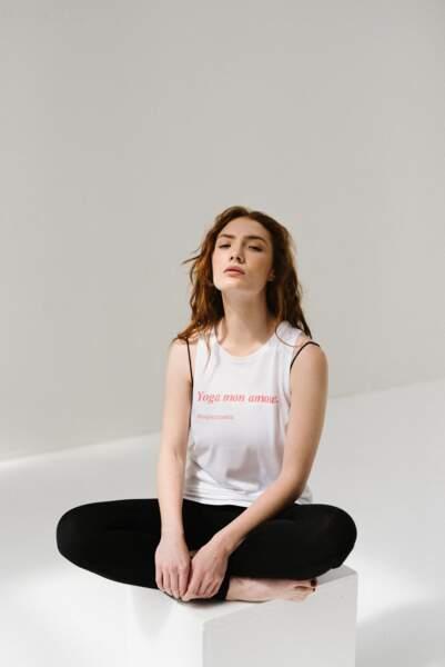 """Top """" Yoga mon amour """", Bonjour Mantra, 39€"""