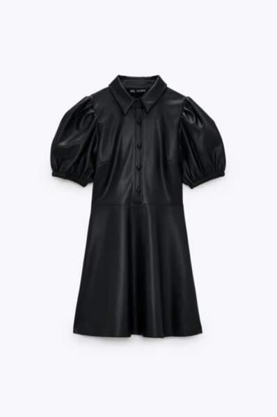 Robe courte en simili cuir, Zara, 39,95€
