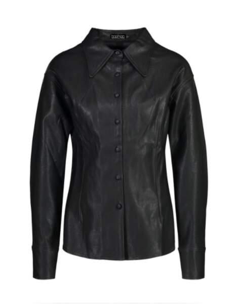 Chemise boutonnée en simili cuir, Boohoo, 22,50€