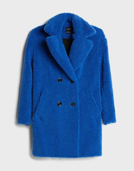 Manteau portefeuille en mouton synthétique, Bershka, 59,99€