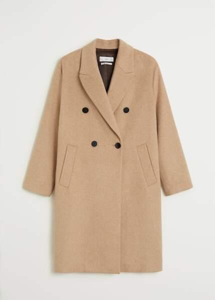 Manteau en laine boutonné, Mango, 79,99€