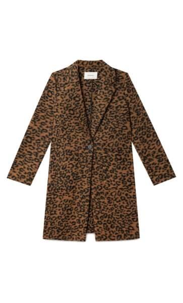 Manteau léopard, 39,99€, Stradivarius
