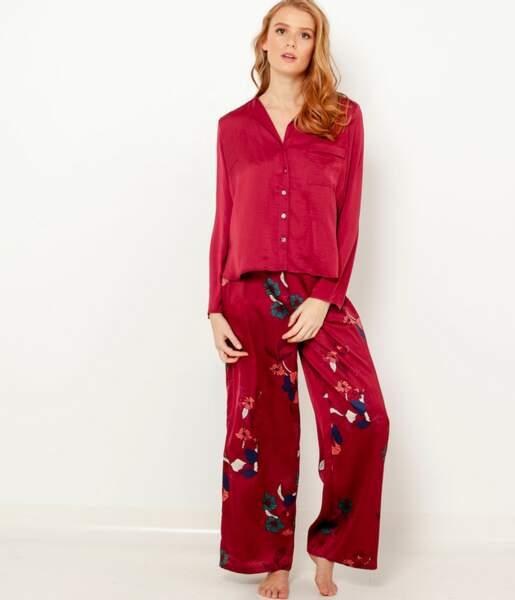 Pantalon en satin imprimé, Camaïeu, actuellement à 22,99€