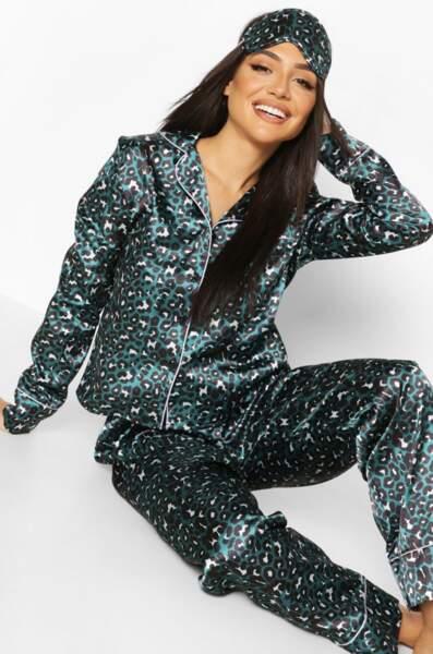 Ensemble pyjama 5 pièces en satin imprimé léopard, Boohoo, actuellement à 33€