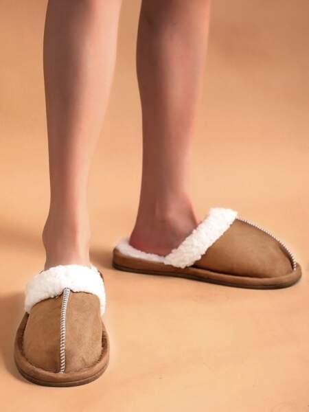 Pantoufles chaudes avec couture, SHEIN, 6,50€