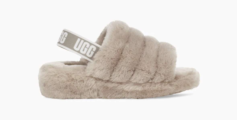 Chaussons fausse fourrure Fluff Yeah Logo Slide, UGG, 119,95€