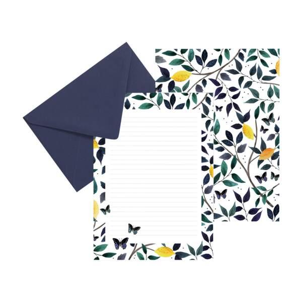 Papier à lettre Citrons et Papillons, soniacavallini sur Etsy, 8 €