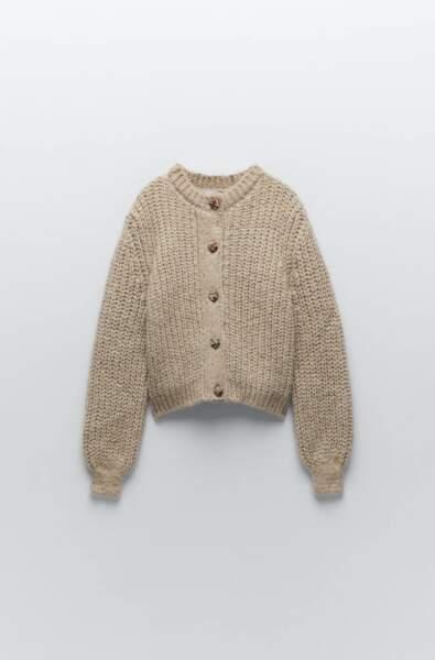 Gilet en maille jacquard, Zara, 39,95€