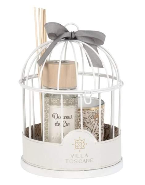 BALANCE / Diffuseur en verre et bougie parfumée support cage en métal blanc, Maisons du monde, 19,99€