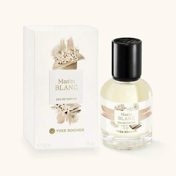BALANCE / Eau de parfum Matin Blanc, Yves Rocher, actuellement à 16,50€ les 30ml