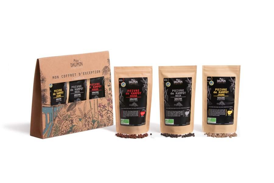 Coffret Poivres d'Exception à personnaliser - 3 sachets de poivres bio en grains, Max Daumin, 24,90 €