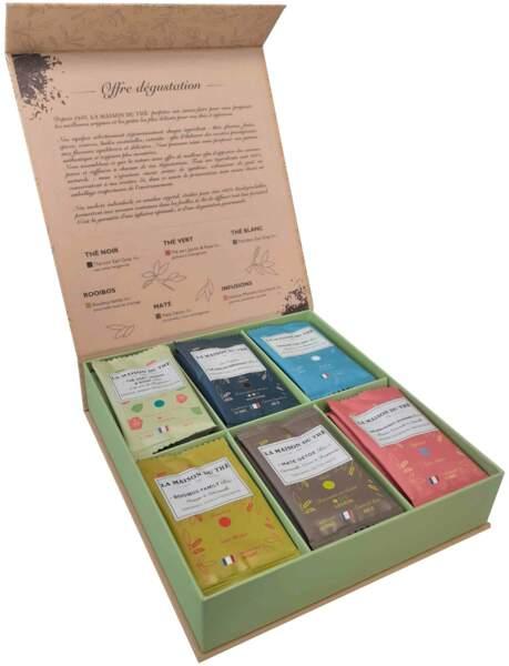Coffret de dégustation Maxi Bio, 30 sachets de thés et d'infusions bio, boîte 100% biodégradable, La Maison du Thé, 14,95 €