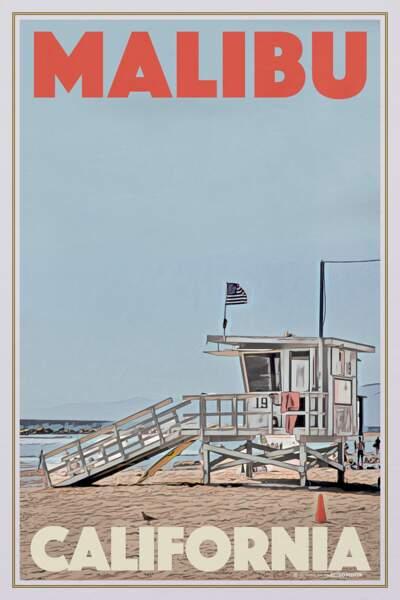 Affiche Malibu Baywatch California, My Retro Poster, 25€