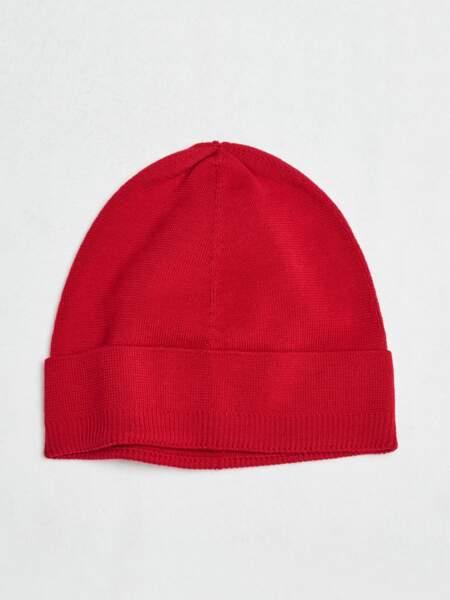 Bonnet en laine bio rouge, Tricot, 35€