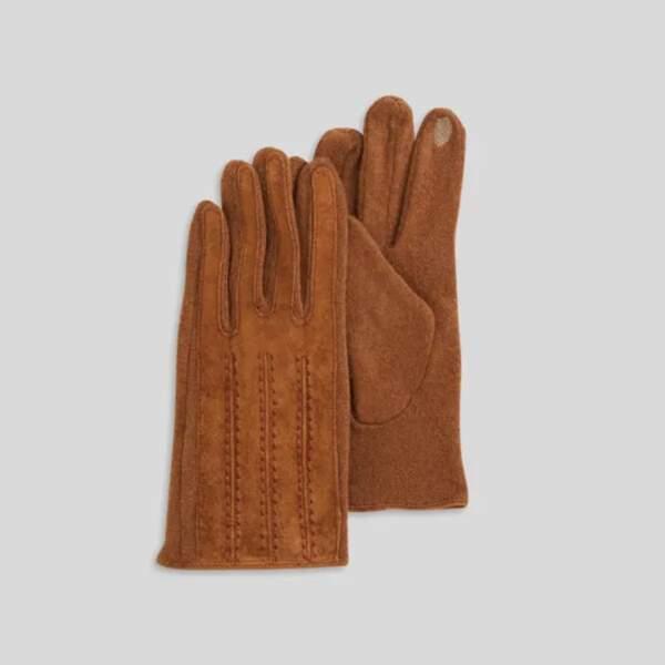 Gants en cuir camel, Monoprix, 22,99€