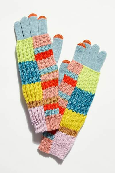 Gants patchwork multicolores, Free People, 39€