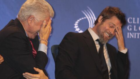 PHOTOS Brad Pitt s'éclate avec Bill Clinton