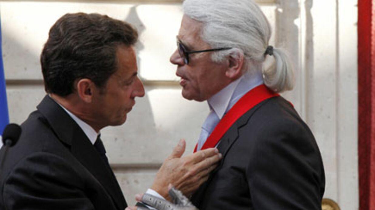 PHOTOS Karl Lagerfeld décoré par Nicolas et Carla Sarkozy