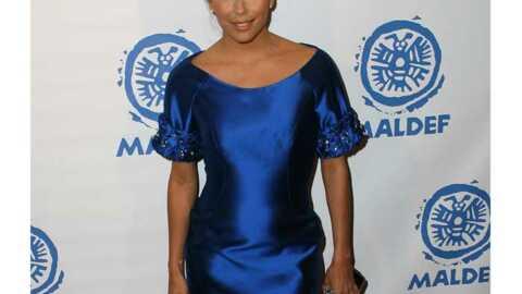 LOOK Eva Longoria, adorable en satin bleu