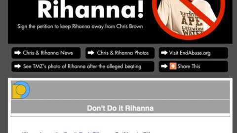 Pétition Rihanna Chris Brown seulement 540 signatures