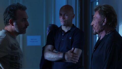 VIDEO Le face-à-face très drôle entre Johnny Hallyday et Jean Dujardin dans le dernier Lelouch