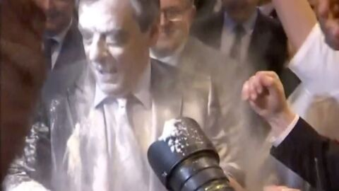 VIDEO François Fillon enfariné en plein meeting à Strasbourg