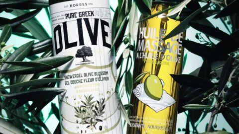 Nos beauty crushs: le gel douche Korres et l'huile de massage Une Olive en Provence