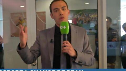 VIDEO Un journaliste d'Infosport+ se prend une porte en plein direct