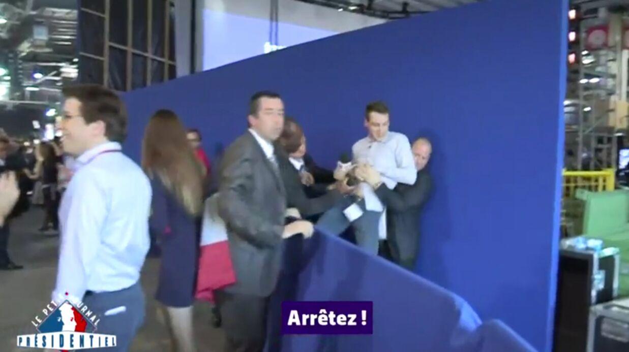 VIDEO Les images de l'agression de l'équipe du Petit Journal au meeting de François Fillon