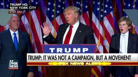 VIDEO Barron, le jeune fils de Donald Trump, en grosse galère de sommeil pendant le discours de papa
