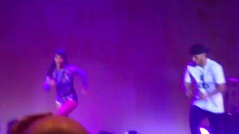VIDEO La grosse chute de Shy'm en se jetant dans le public clairsemé de Bercy