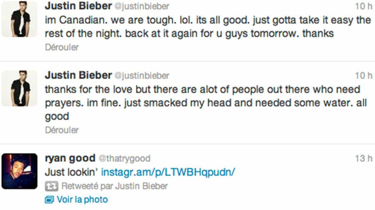 Justin Bieber se blesse contre une vitre lors d'un concert à Paris