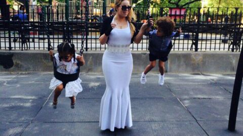 PHOTOS Mariah Carey au parc en robe de soirée, NORMAL !