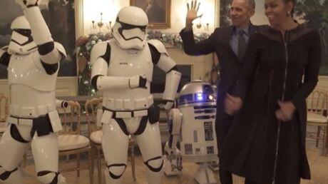 VIDEO Barack et Michelle Obama dansent avec deux Stormtroopers et R2-D2
