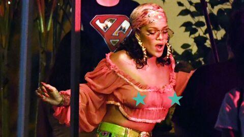 PHOTOS Seins nus sous un top ultra transparent, Rihanna s'éclate sur le tournage de son nouveau clip