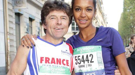 PHOTOS Karine Le Marchand et Philippe de L'amour est dans le pré courent le marathon de Paris