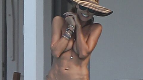 PHOTOS Topless, Heidi Klum s'éclate à la piscine avec son mec