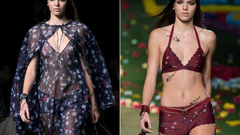 PHOTOS Kendall Jenner défile seins nus puis en maillot à la fashion week