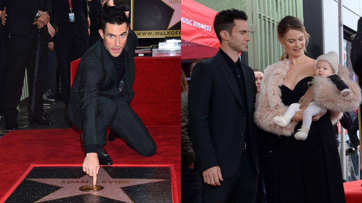 PHOTOS Adam Levine inaugure son étoile sur le Walk of Fame en famille
