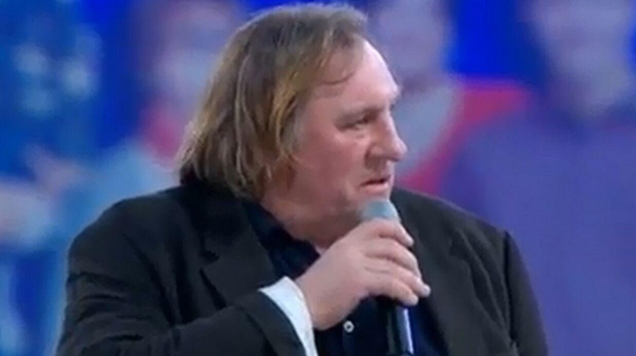 Gérard Depardieu soutient Nicolas Sarkozy à Villepinte