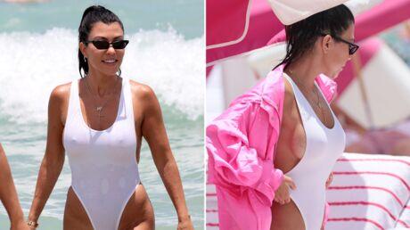 PHOTOS Sexy en maillot blanc, Kourtney Kardashian montre tout à la plage