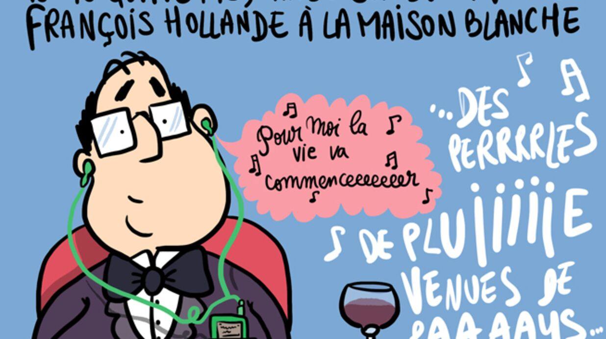 Louison a croqué: François Hollande dîne avec les Obama à la Maison Blanche