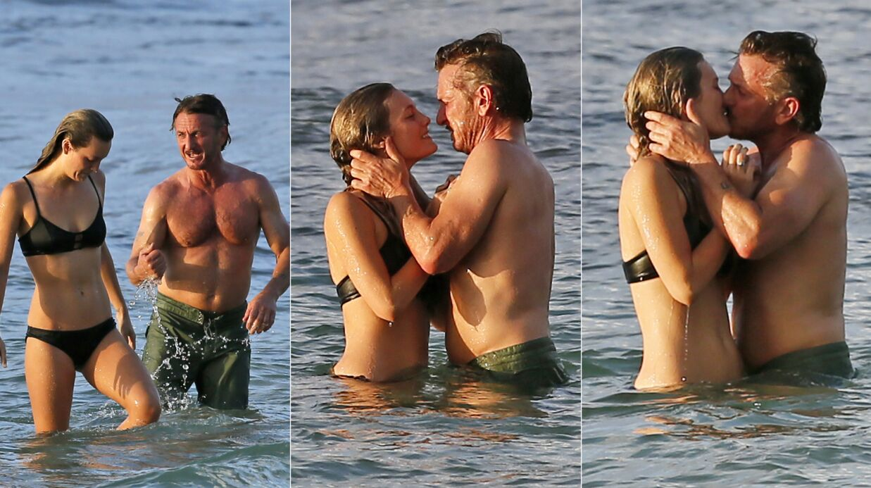 PHOTOS Sean Penn à la plage avec sa petite amie, c'est chaud!