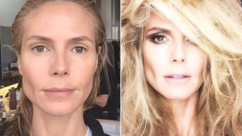 PHOTO Heidi Klum fait un selfie bluffant avant et après maquillage!