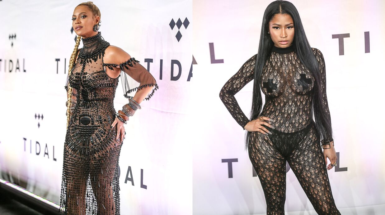 PHOTOS Beyoncé et Nicki Minaj jouent la carte de la transparence pour la soirée Tidal